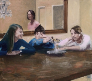 Cornelia Stoll with her children at home, oil on canvas 100x90cm 2008