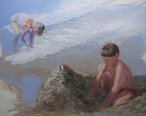 Flag in Paradise 80x100cm sand and oil on canvas