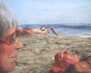 mother on the beach 80x100cm sand and oil on canvas