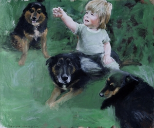 Tobias with his dogs (the little storyteller) oil on canvas 2008 100x120cm